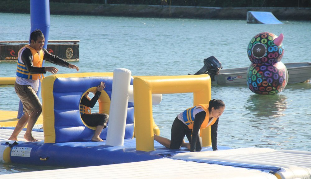 small inflatable water park swimming top selling Bouncia Brand inflatable floating water park