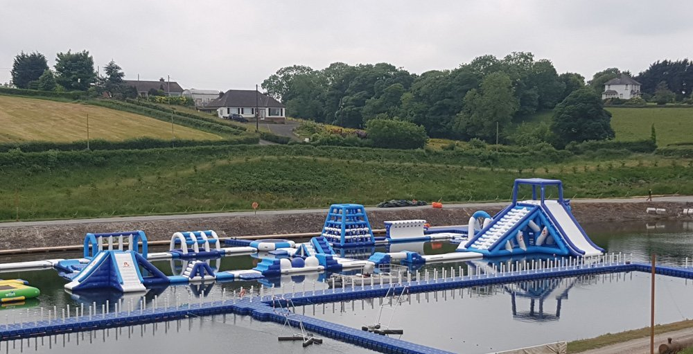 Giant Inflatable Water Park Games Installed In Belfast