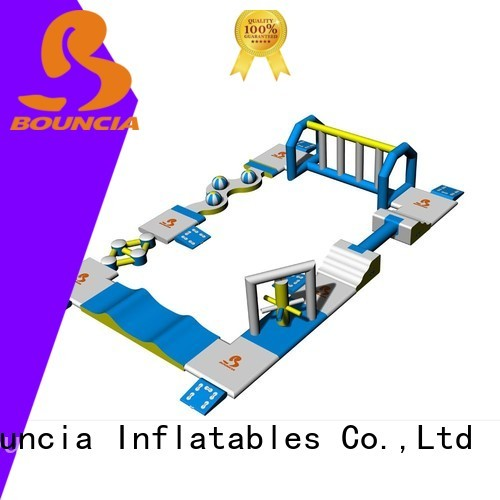 sea by small inflatable water park tower Bouncia company